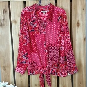 Allison Daley Plus Size Button Down Blouse NWT